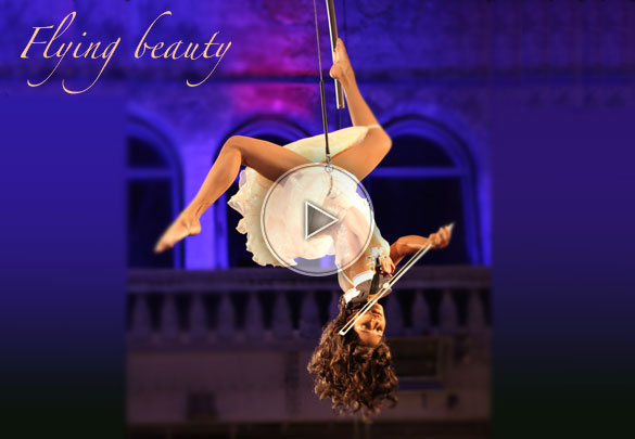 flying beauty, flying beauties, violin player in the air, aerial violin, aerialist and violin, violin player
